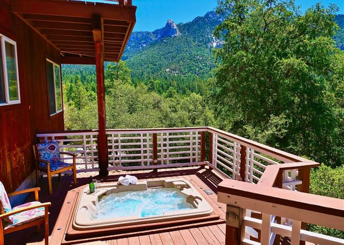 log cabin partial deck